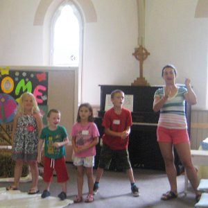 Kids participating in VBS program